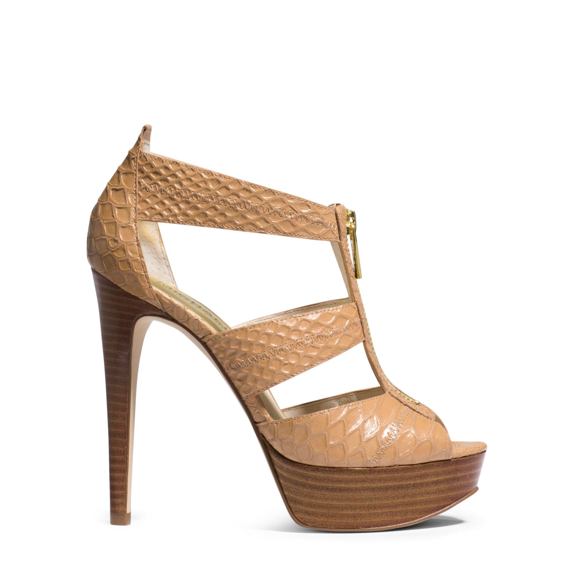 4e3b3e789610 Lyst - Michael Kors Berkley Embossed-leather Platform Sandal