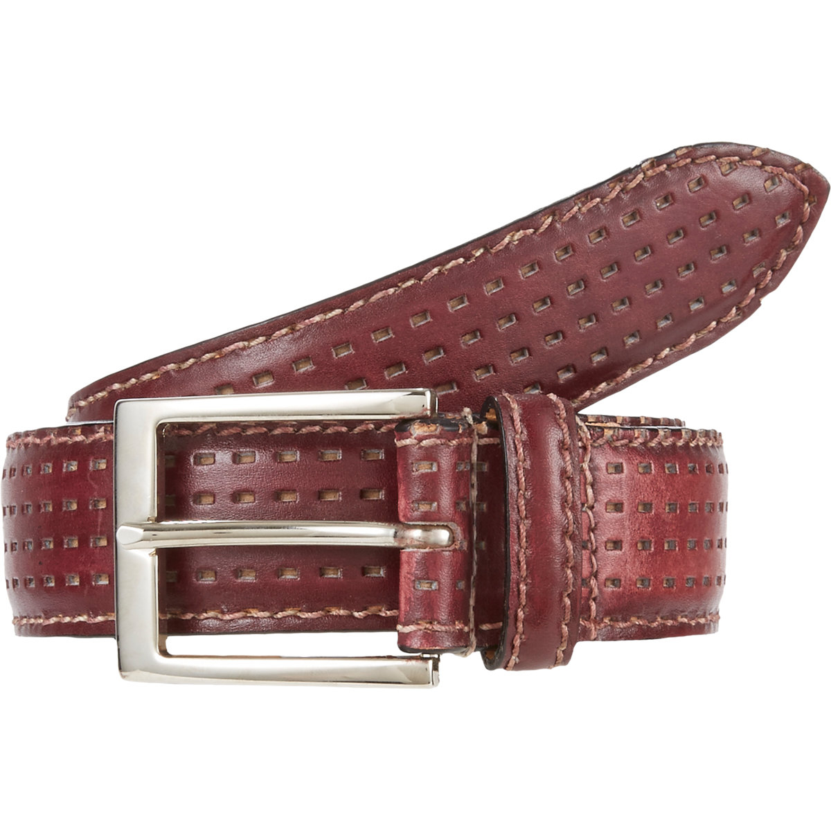 harris perforated leather belt in for lyst
