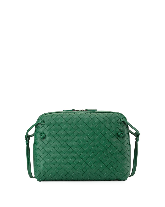 5b89f1295b Bottega Veneta Small Pillow Woven Crossbody Bag in Green - Lyst