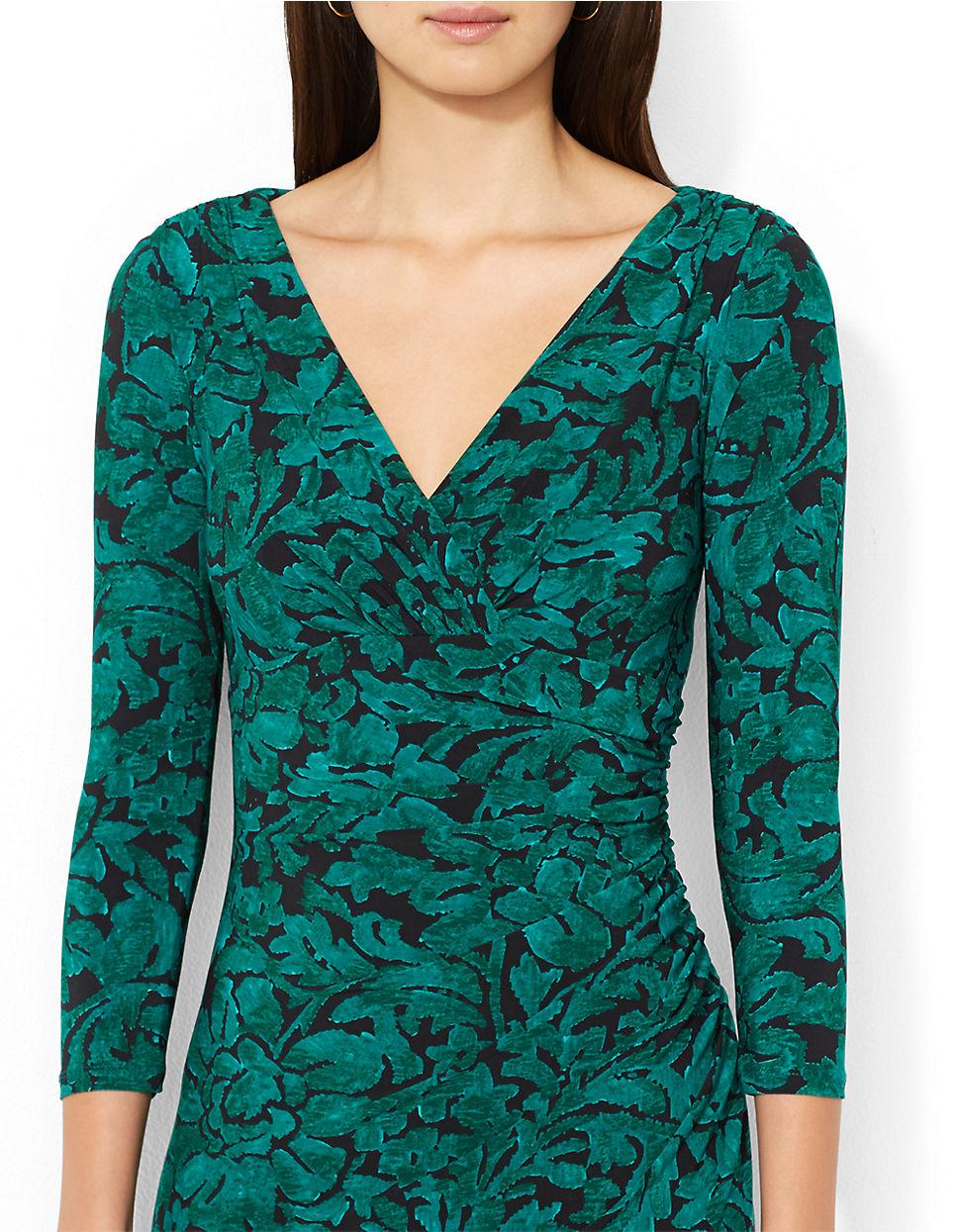 Lauren By Ralph Lauren Printed Jersey Faux Wrap Dress In