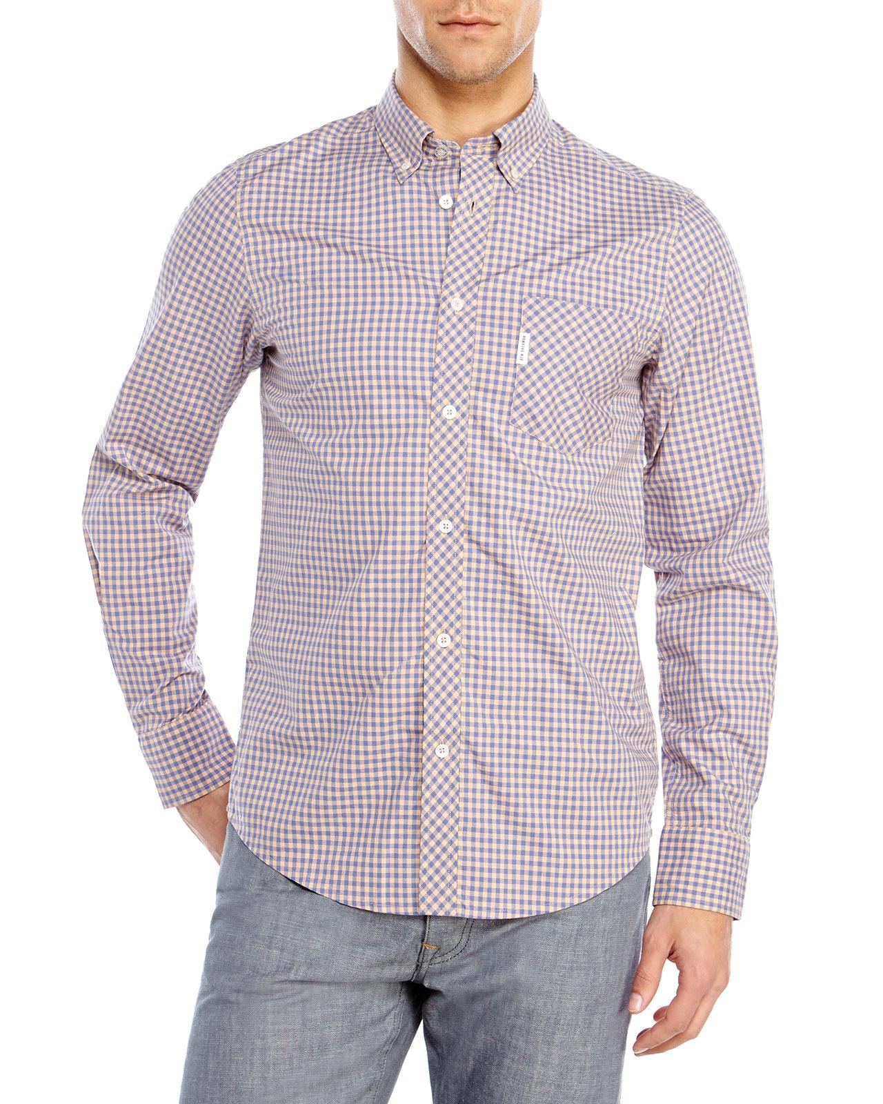 Lyst ben sherman gingham button down shirt in blue for men for Blue gingham button down shirt