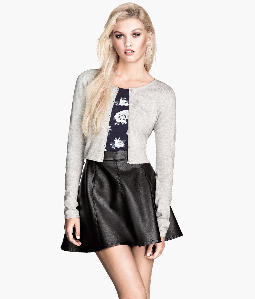 H&m Short Cardigan in Gray | Lyst