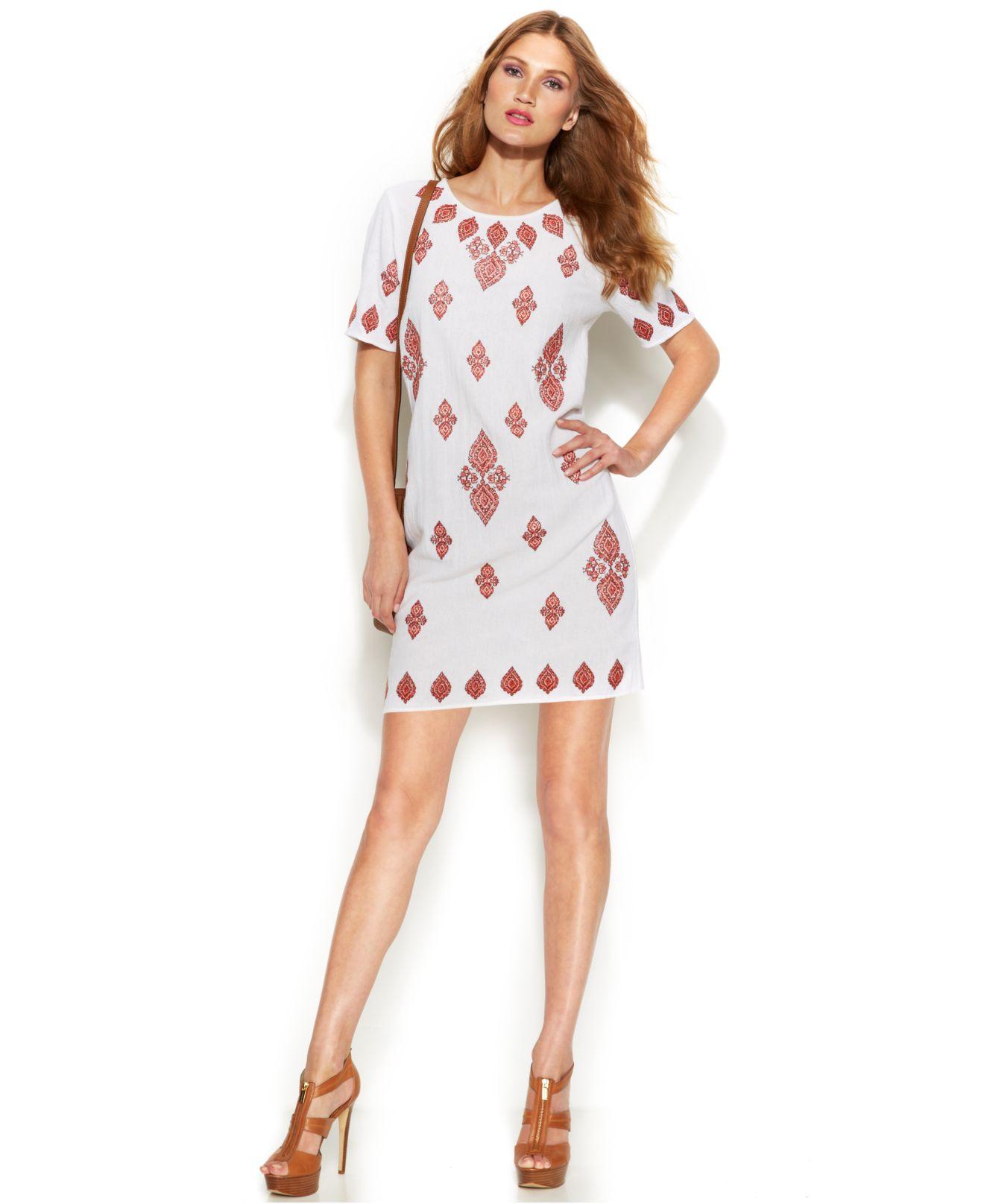 88133e0edecc Lyst - Michael Kors Michael Petite Paisley-Print Linen Dress in White