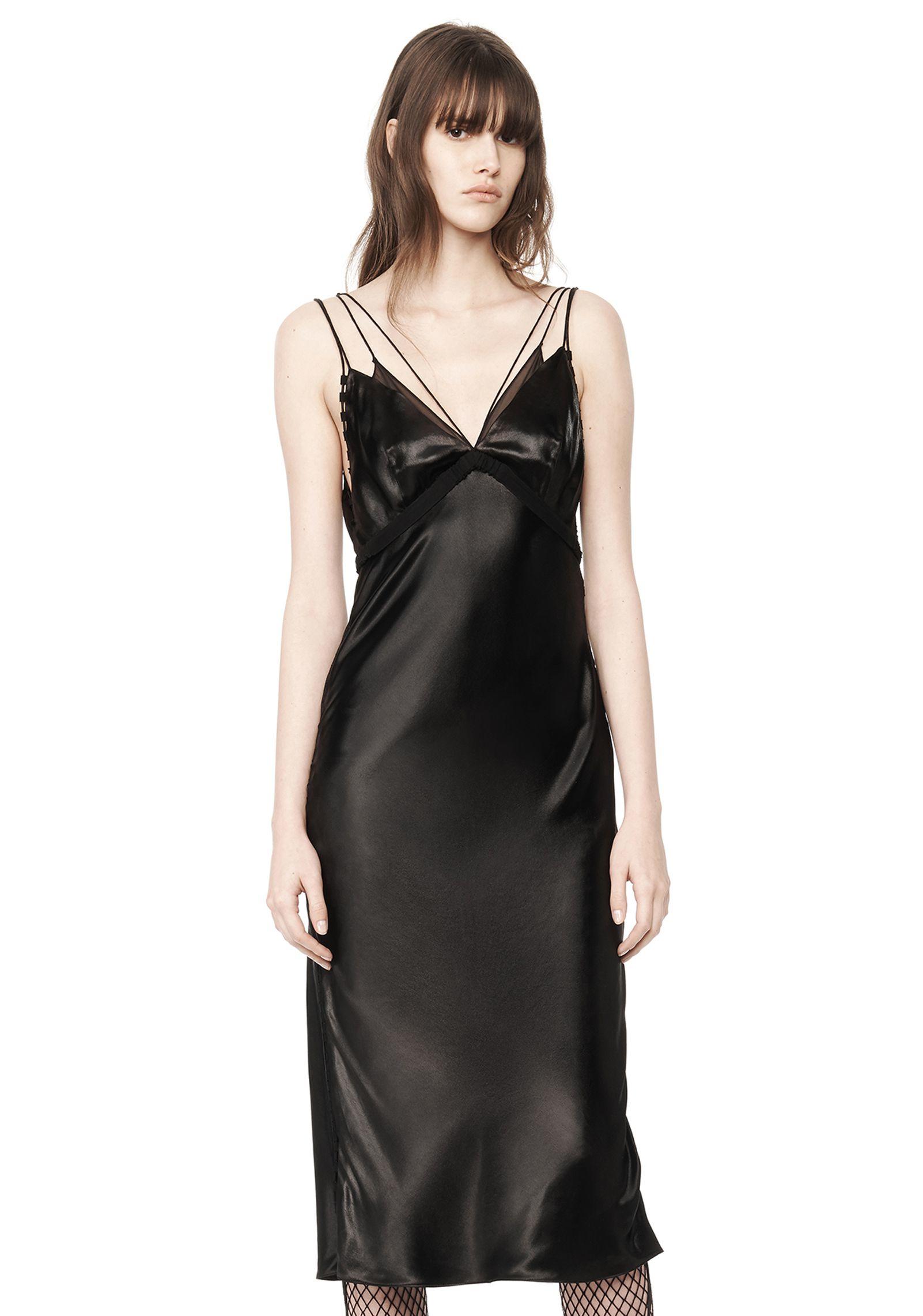 Lyst Alexander Wang Satin Slip Dress In Black