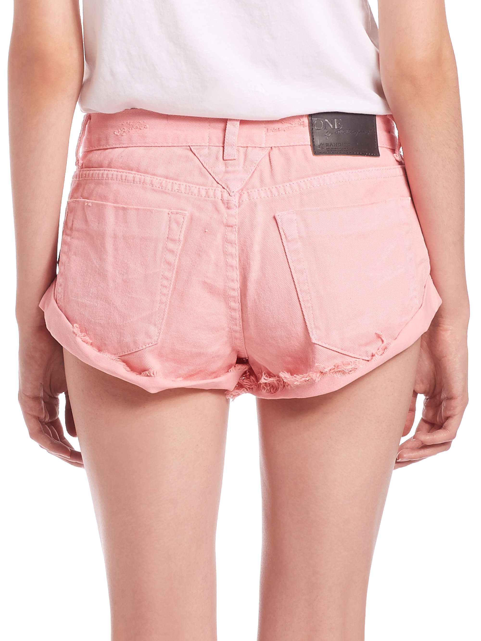 One teaspoon Bandits Rolled Denim Shorts in Pink | Lyst