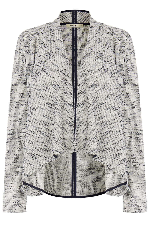Oasis Tweed Waterfall Jacket in Blue | Lyst