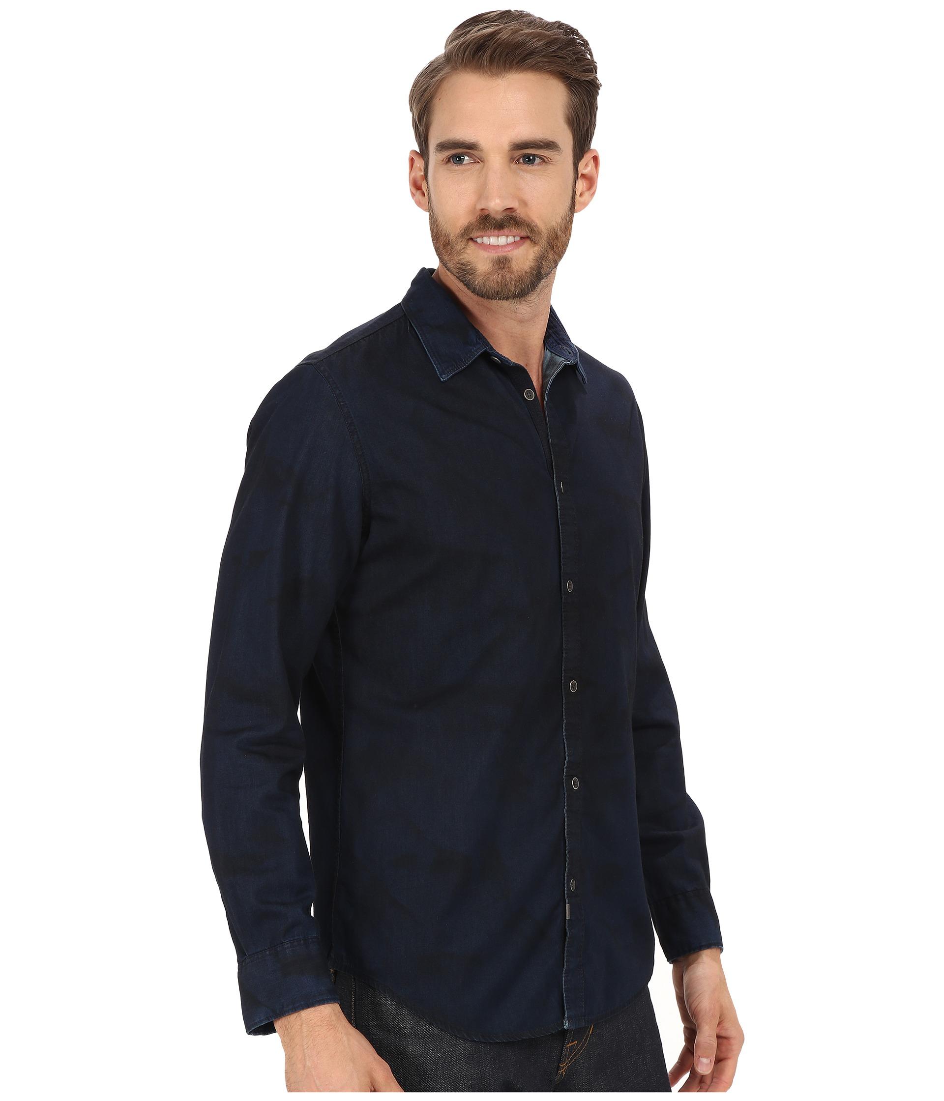 calvin klein jeans dark spray wash denim shirt in black. Black Bedroom Furniture Sets. Home Design Ideas