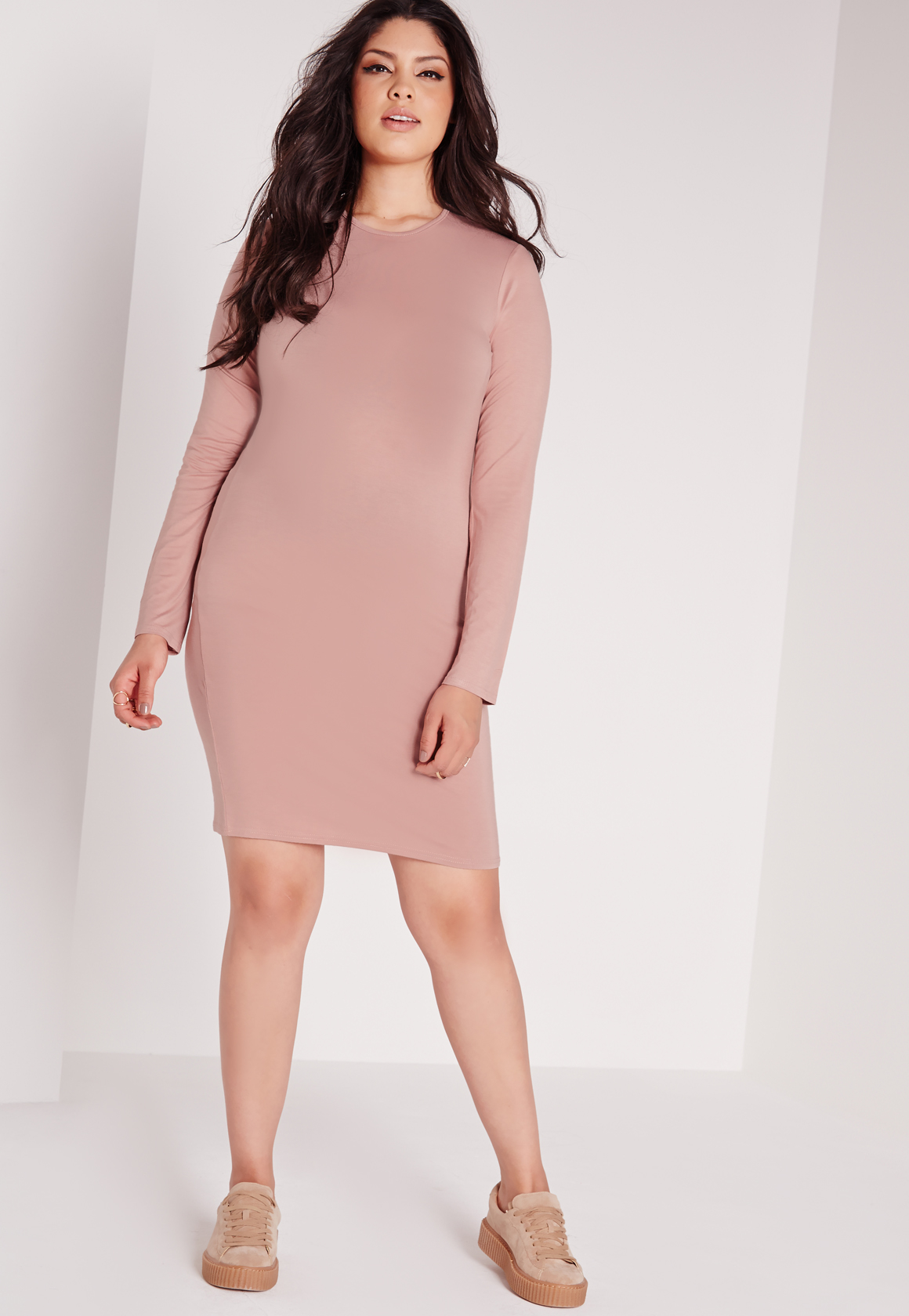 Lyst - Missguided Plus Size Long Sleeve Bodycon Dress Pink in Pink