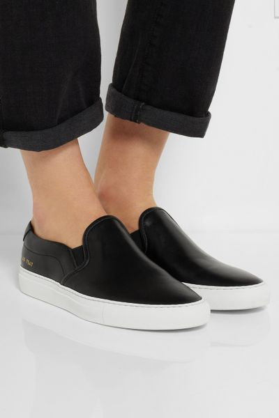 Common Projects Leather Slip On Sneakers In Black Lyst