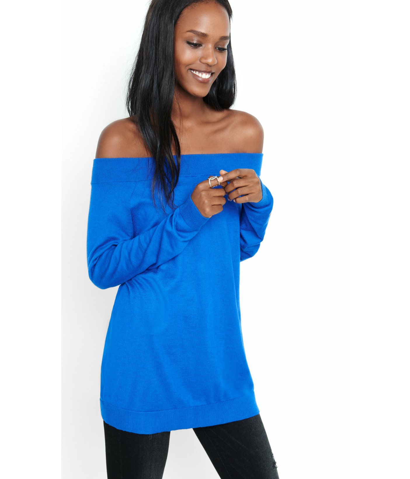 Express Hint Of Cashmere Off The Shoulder Tunic Sweater in Blue | Lyst