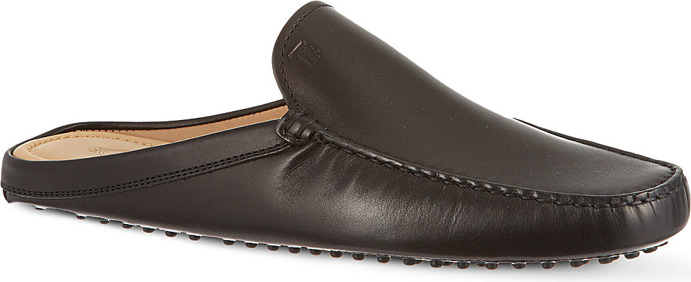 tod s backless gommino driving shoes in leather in black