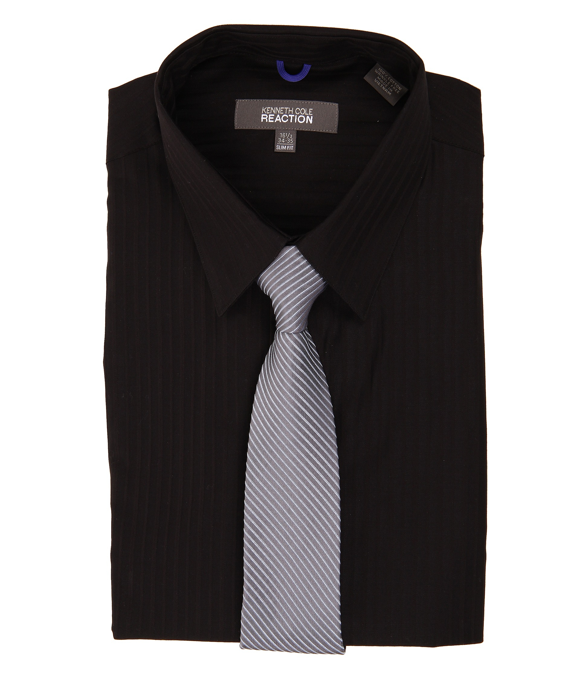 kenneth cole wrinkle free slim fit dress shirt in black