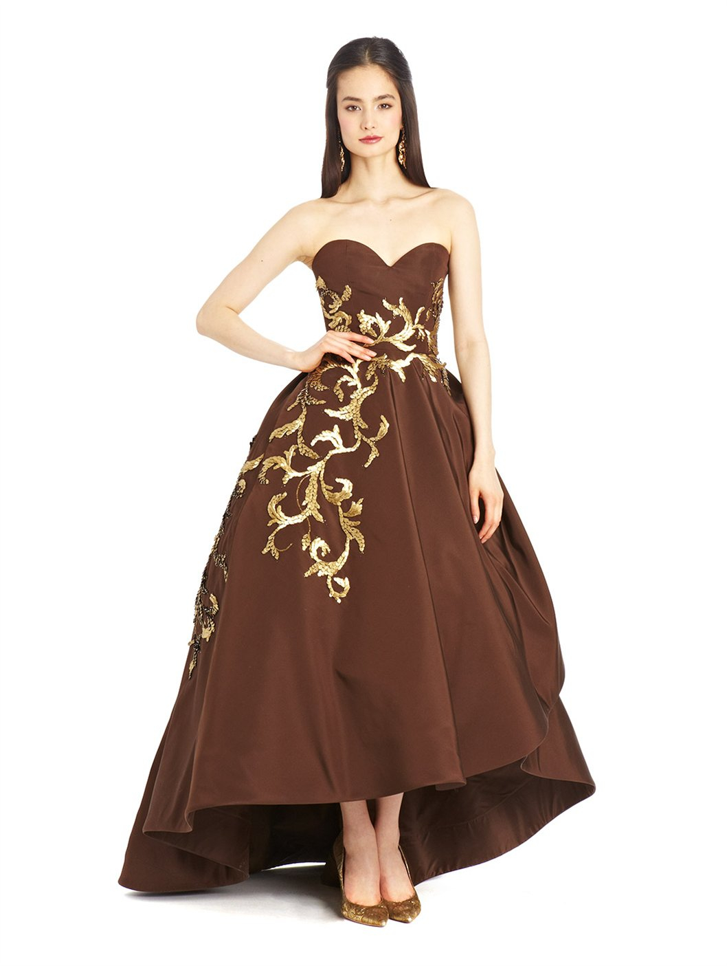 Gold High Low Feather Dresses