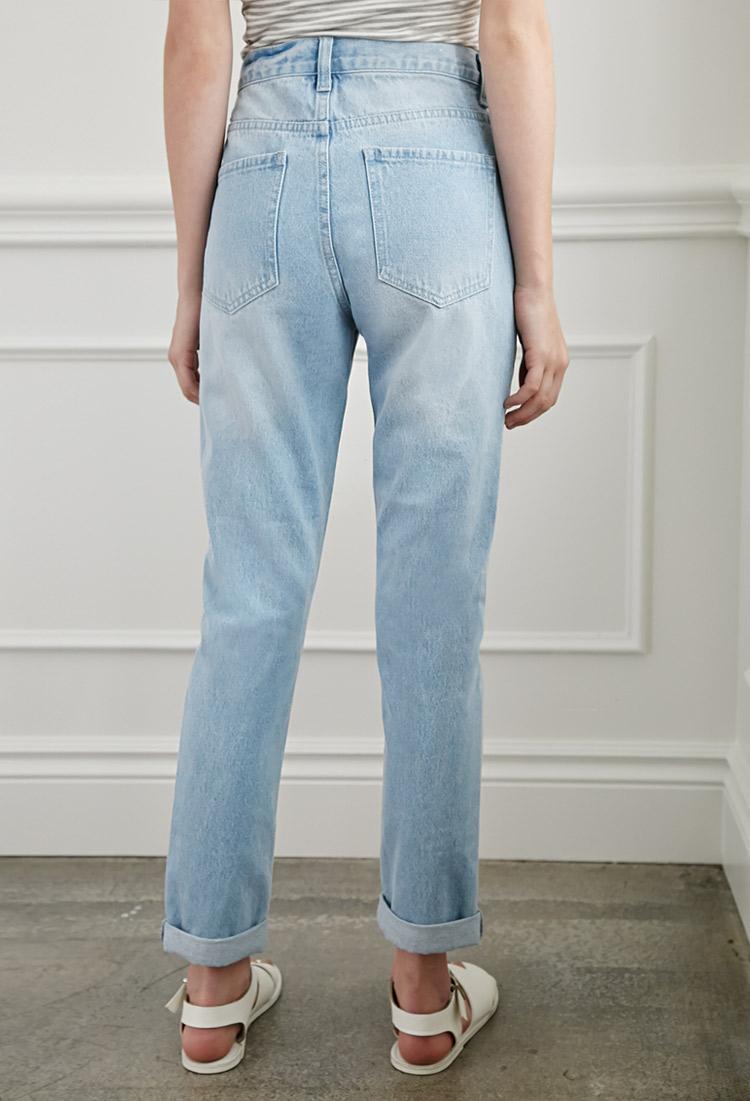 forever 21 mom fit jeans in blue lyst. Black Bedroom Furniture Sets. Home Design Ideas