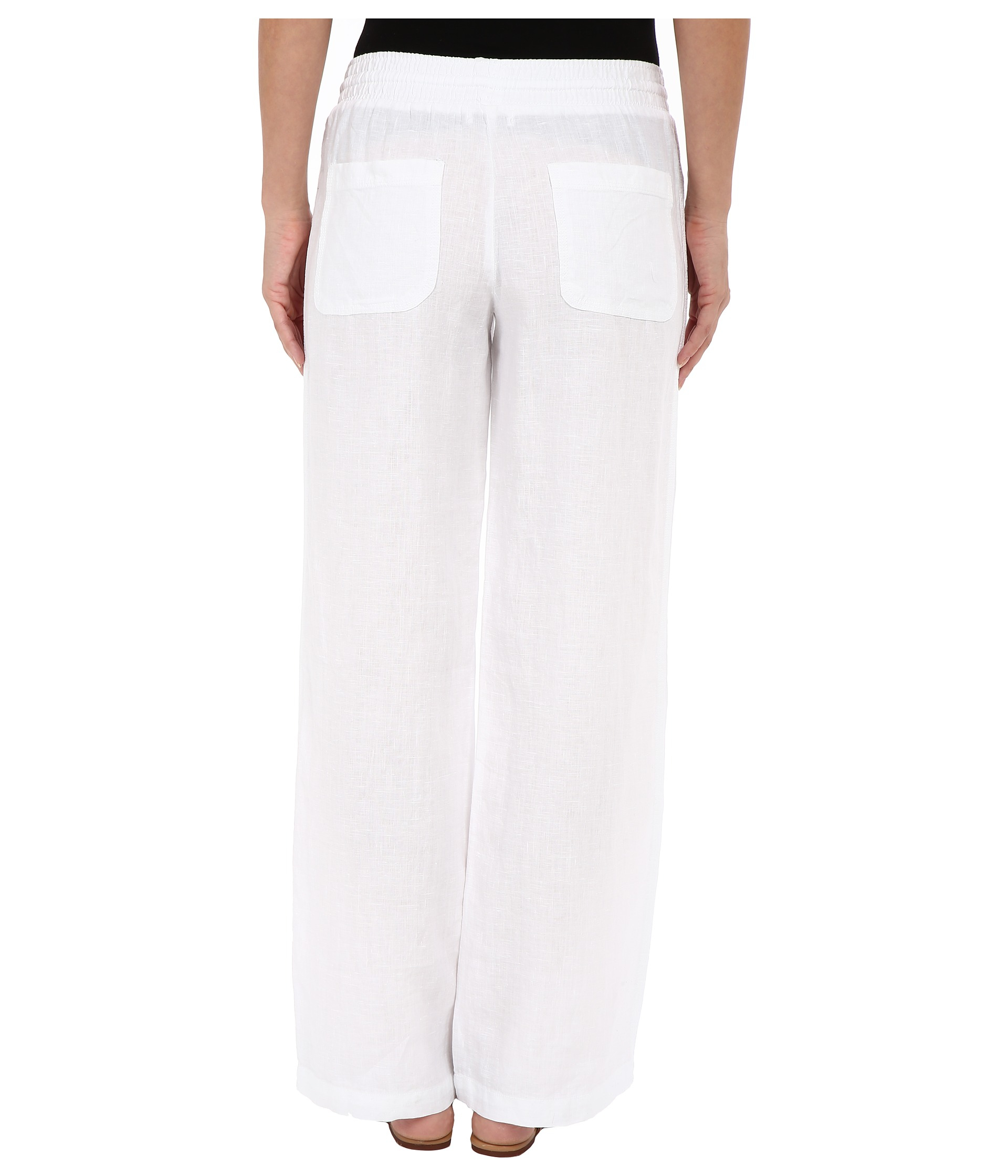 Allen Allen Linen Long Cargo Pants In White Lyst