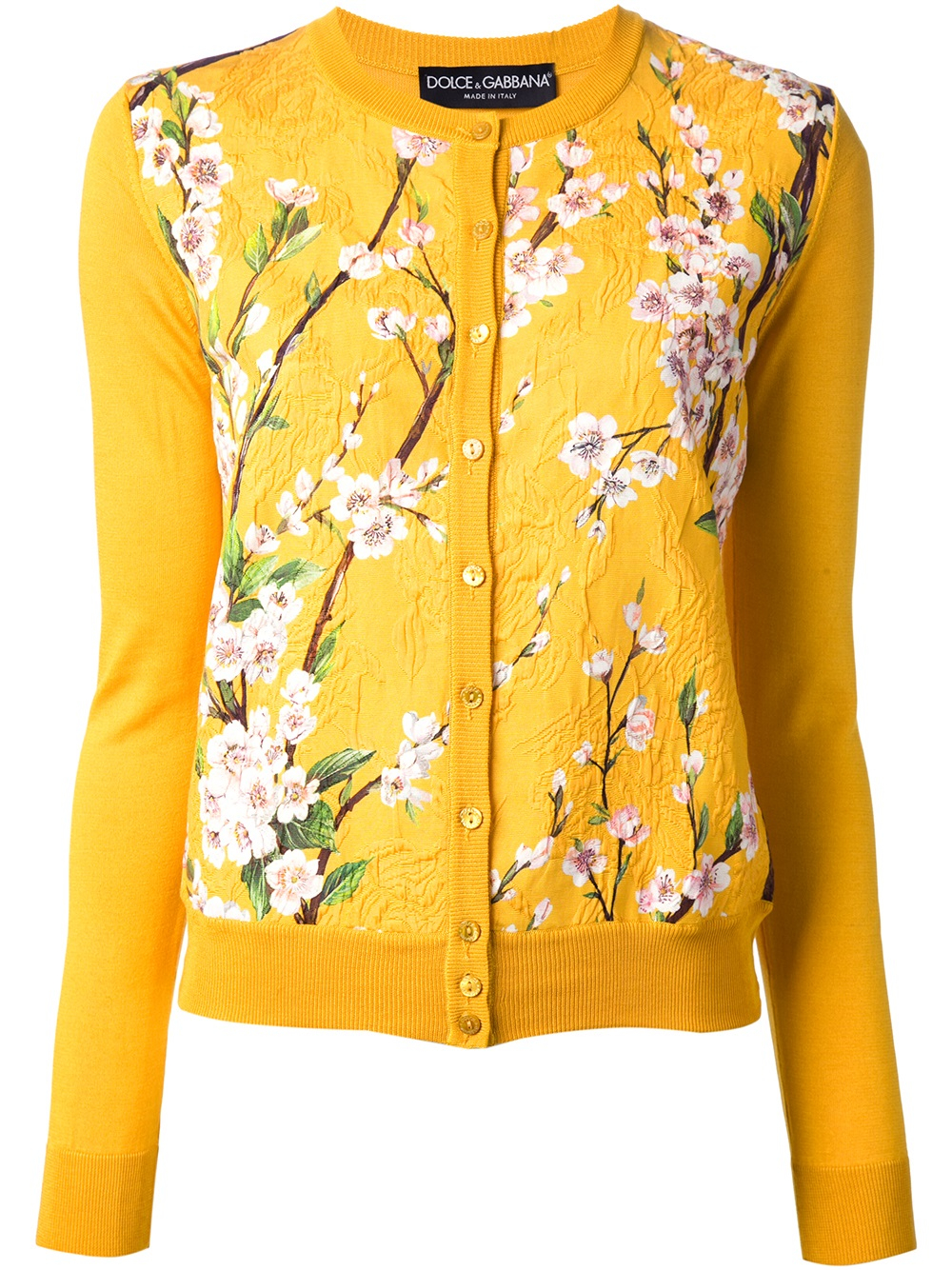 Dolce & gabbana Floral Print Cardigan in Yellow | Lyst