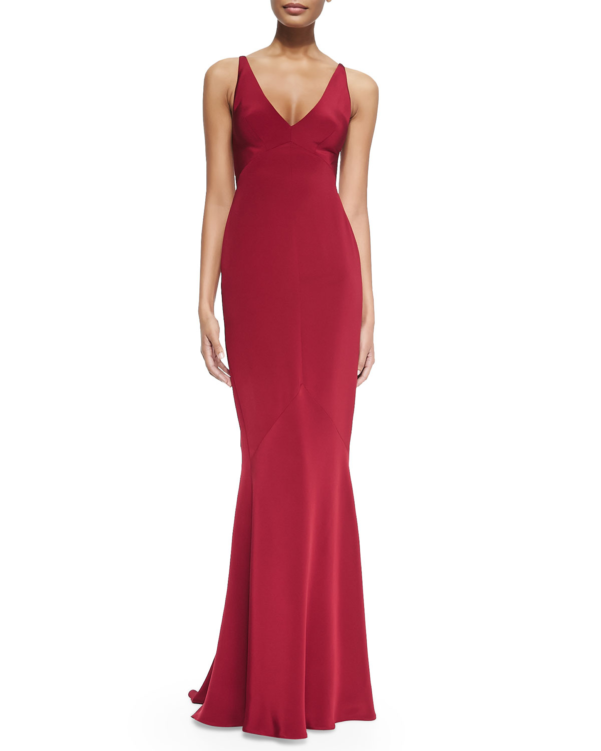 Lyst - Narciso Rodriguez Sleeveless Bias-Cut Mermaid Gown in Red