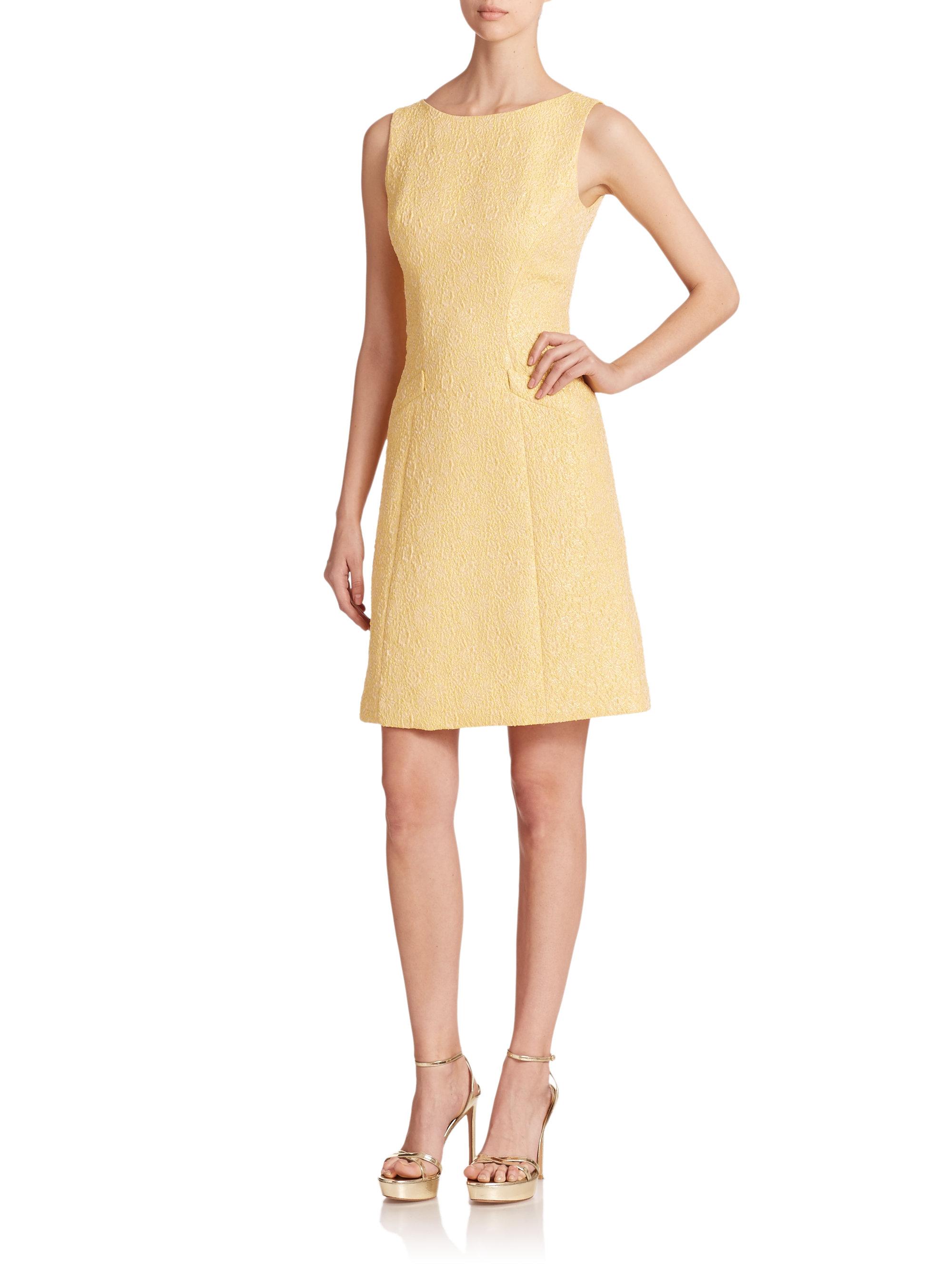 Lyst - Theia Jacquard Sleeveless Dress in Yellow