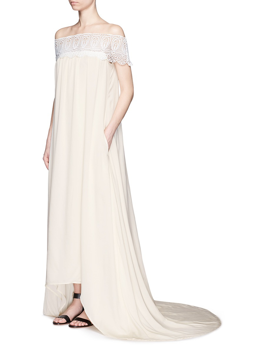 Self portrait off the shoulder lace and silk blend gown in for Self portrait wedding dress