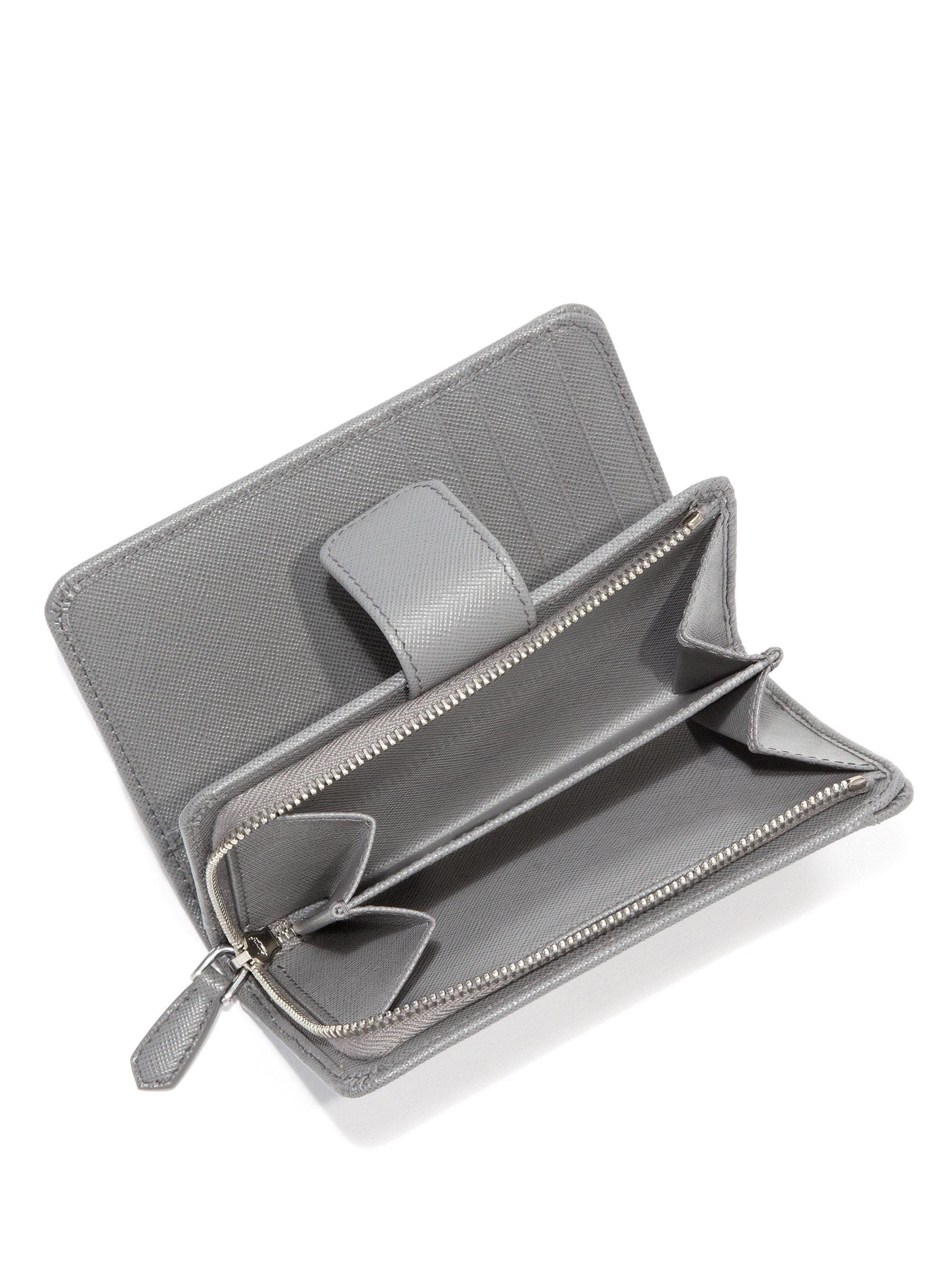 Prada Saffiano Leather Wallet in Gray (grey) | Lyst