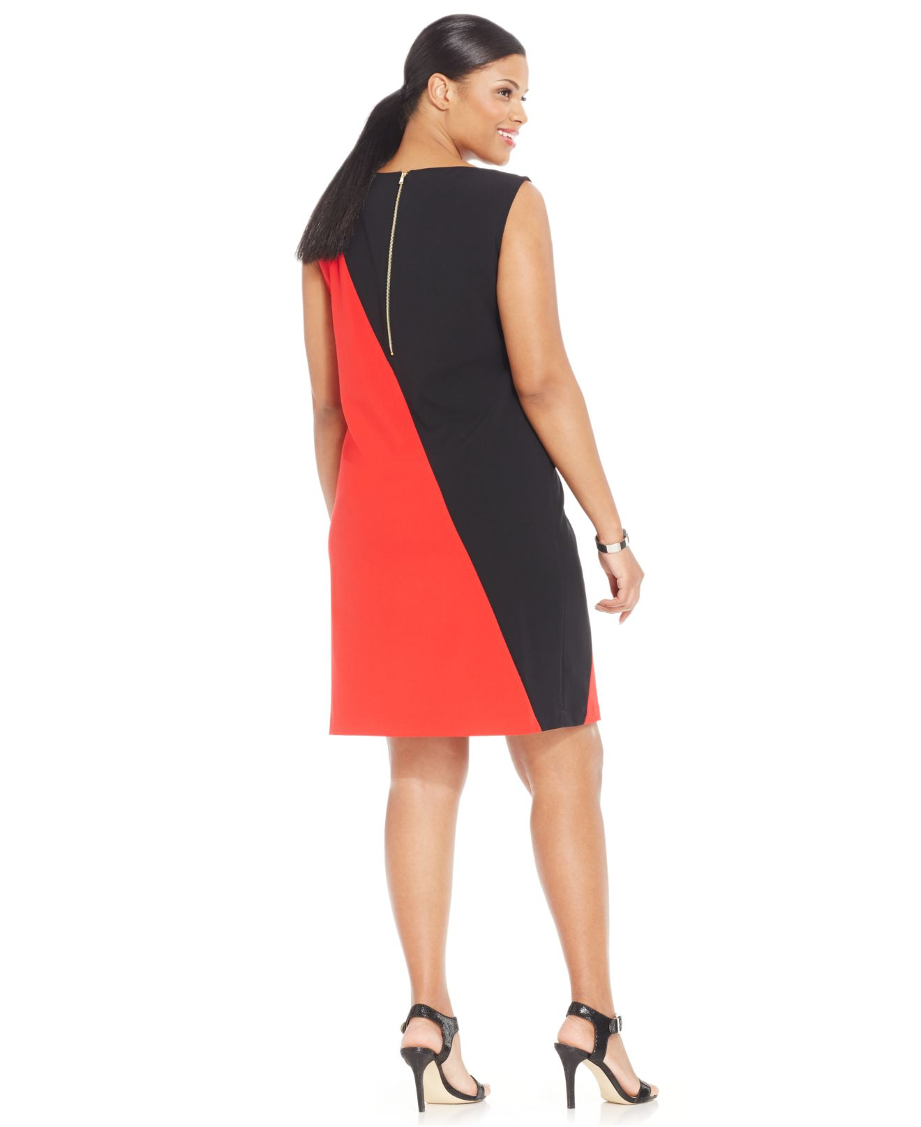 50f5ceaa Nine West Plus Size Sleeveless Colorblock Sheath Dress in Red - Lyst