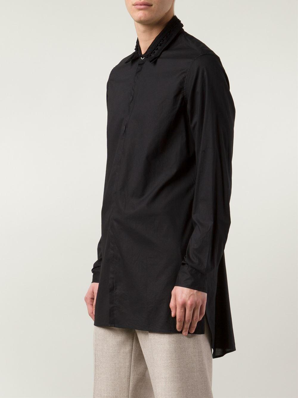 Ann demeulemeester tassel collar long shirt in black for for Mens shirt with tassels