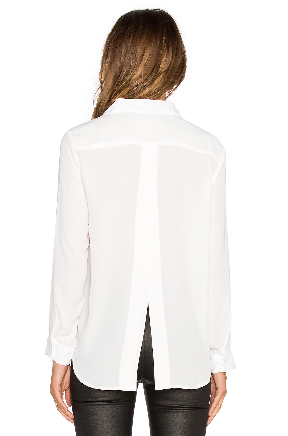 Lyst Krisa Split Back Button Up Top In White