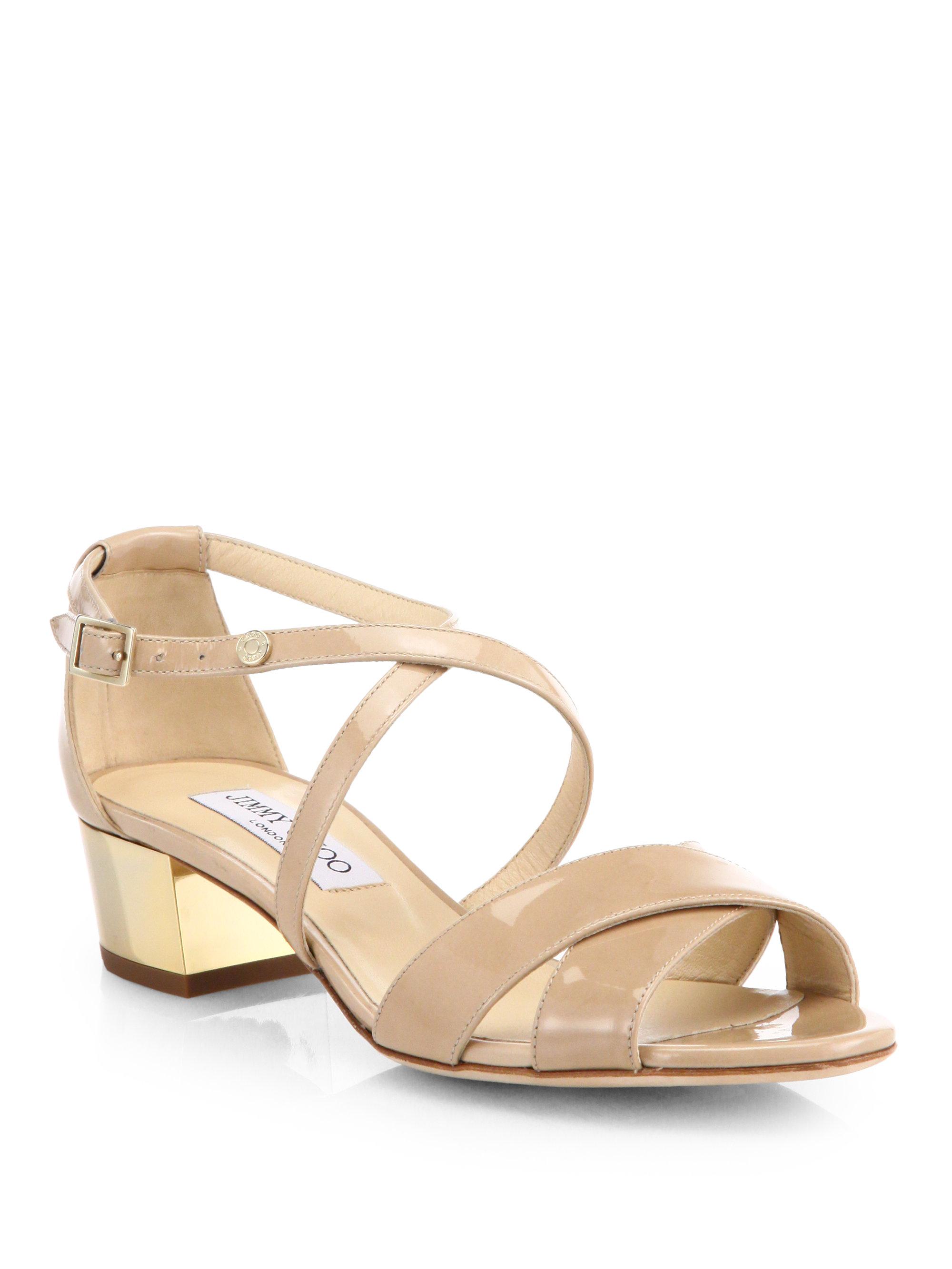 Jimmy Choo Merit Crisscross Patent Leather Sandals In