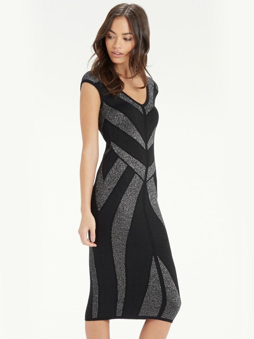 f456246de946 Oasis Chevron Sparkle Dress in Black - Lyst