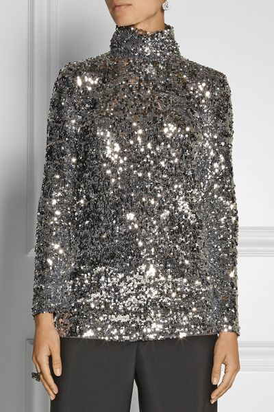 By Malene Birger Zio Sequined Turtleneck Top In Silver