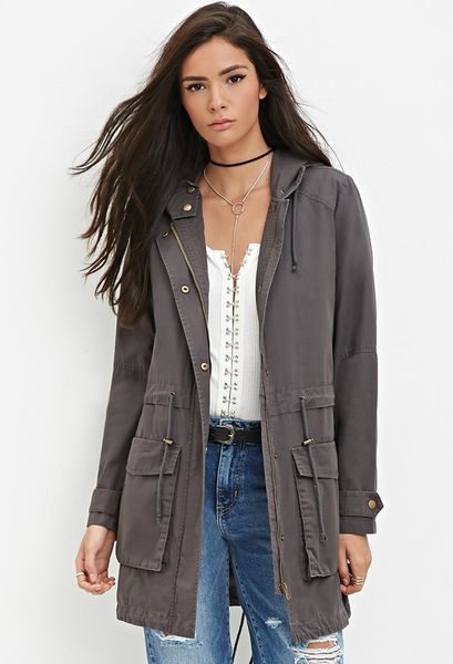 Forever 21 Longline Hooded Utility Jacket in Gray (Dark grey) | Lyst
