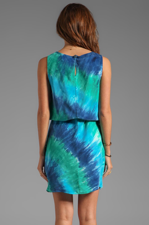 C Amp C California Bemberg Circle Tie Dye Tank Dress In Teal
