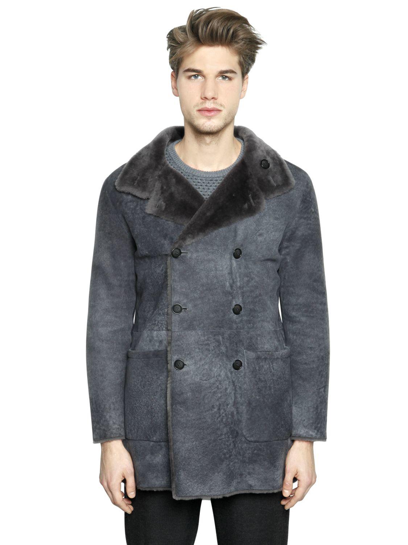 Giorgio armani Reversible Wool Shearling Coat in Gray for Men | Lyst