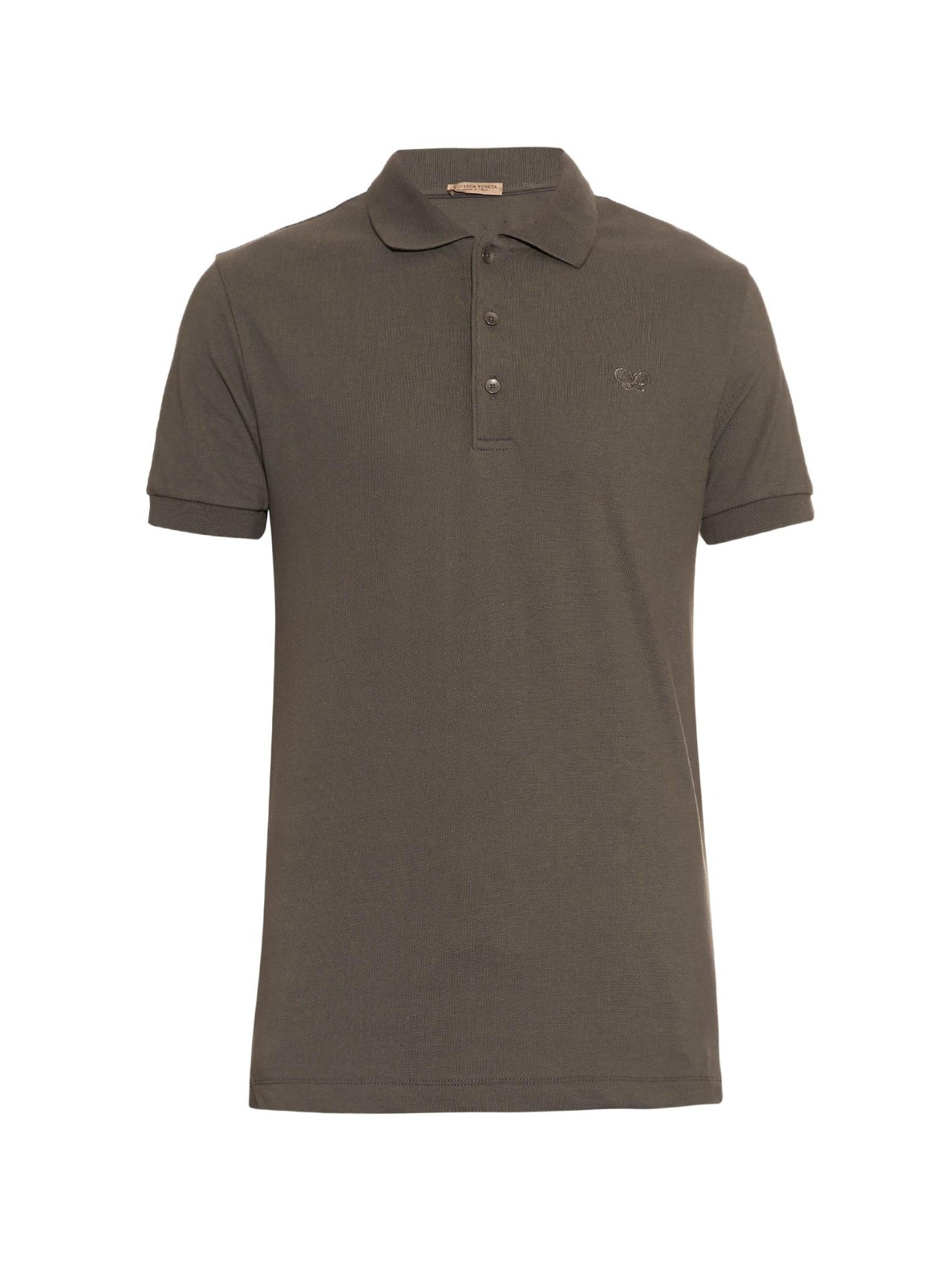 Bottega veneta cotton piqu polo shirt in gray for men lyst for Bottega veneta t shirt