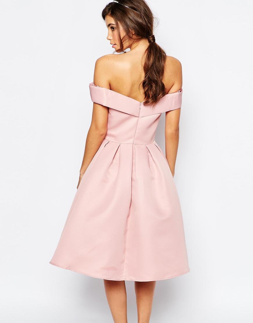 Lyst - Chi Chi London Midi Prom Dress With Full Skirt And Bardot ...