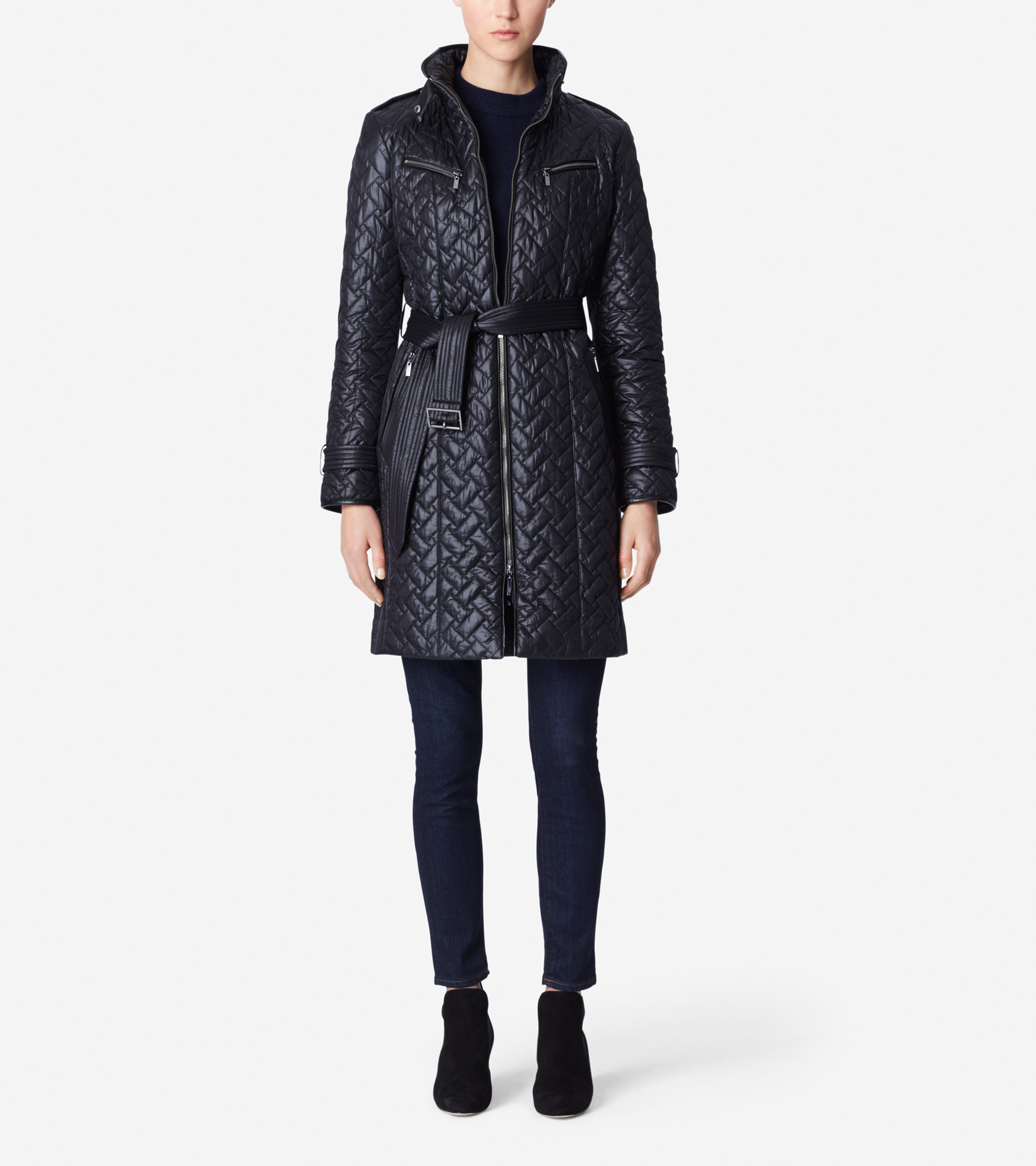 Lyst Cole Haan Signature Quilt Belted Coat In Black