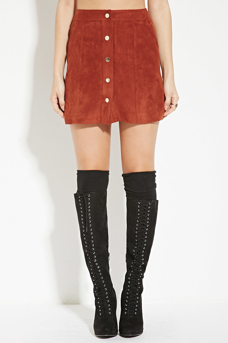 Forever 21 Buttoned Faux Suede Skirt in Brown | Lyst