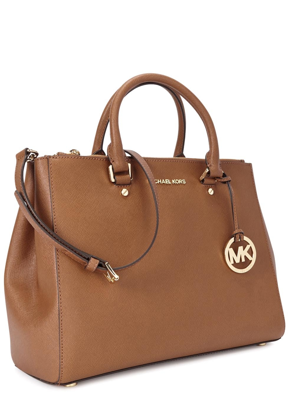 13bdaeaa5838 ... new style michael kors sutton large tawny leather tote in brown lyst  8f383 a18fe