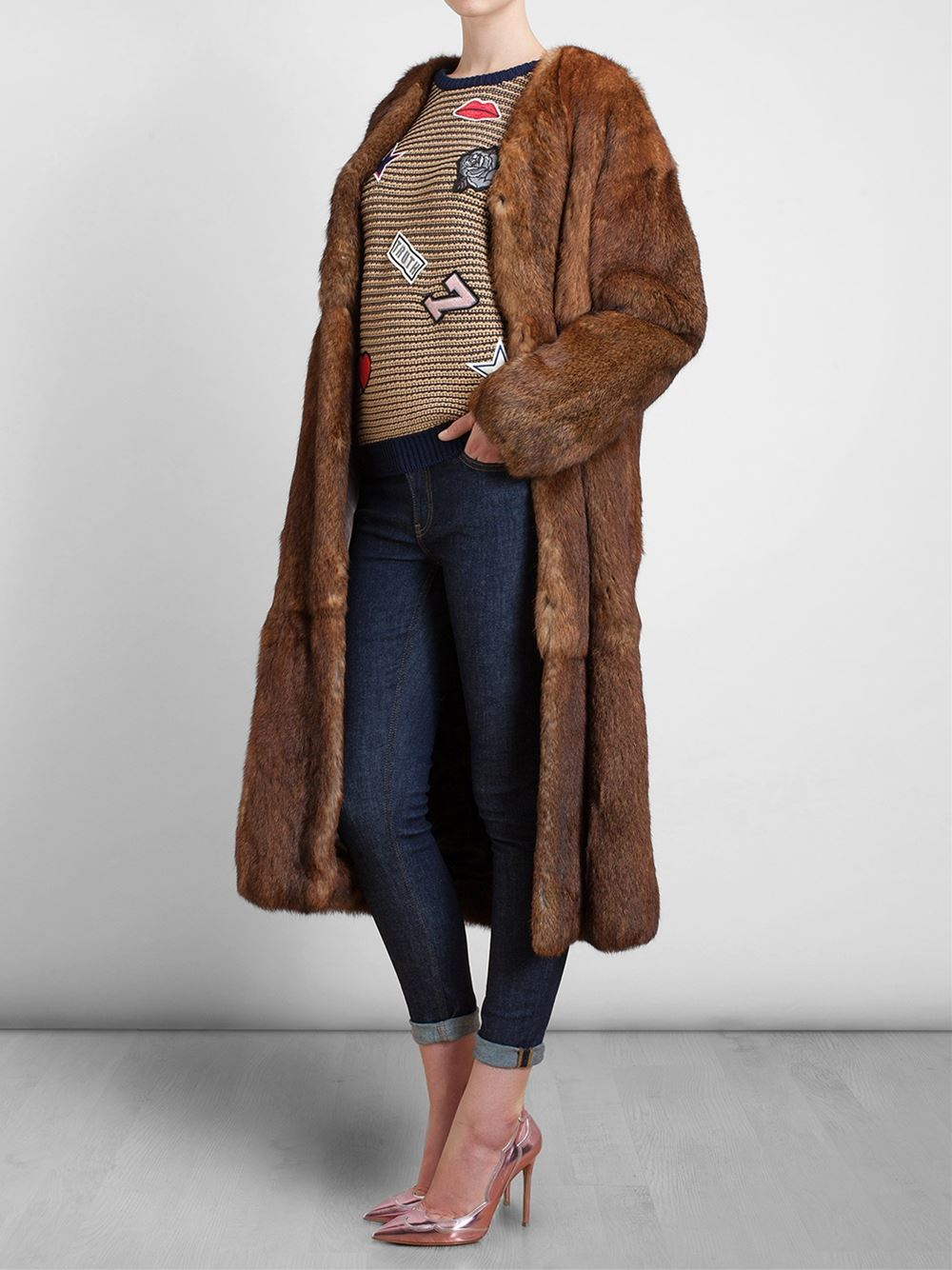 Msgm Long Rabbit Fur Coat in Brown | Lyst