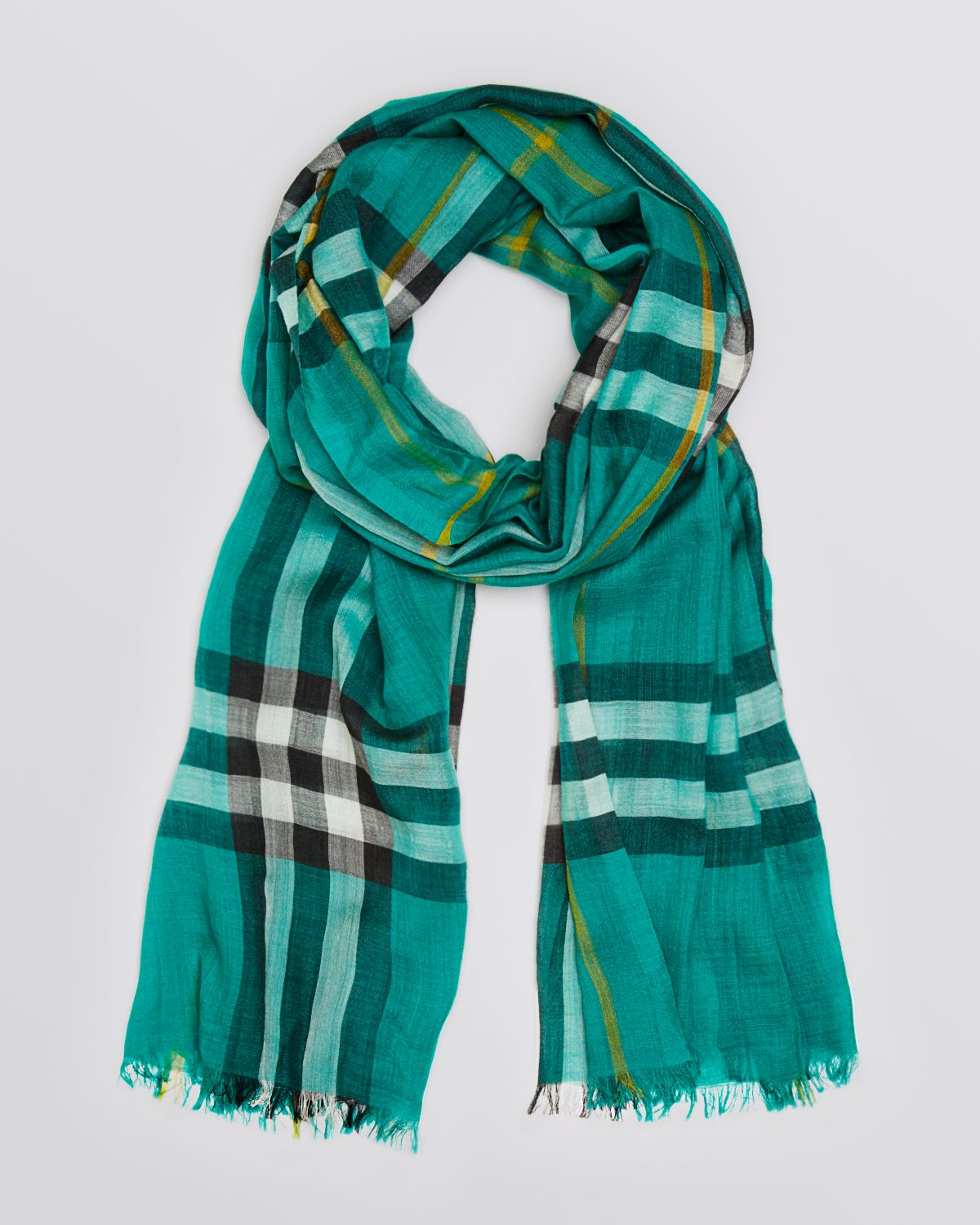 Burberry Giant Check Woolsilk Gauze Scarf in Green | Lyst