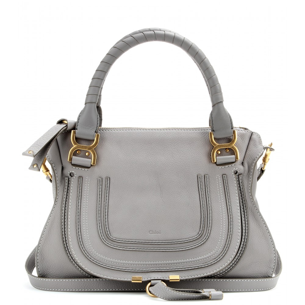 chlo marcie medium leather shoulder bag in gray lyst. Black Bedroom Furniture Sets. Home Design Ideas