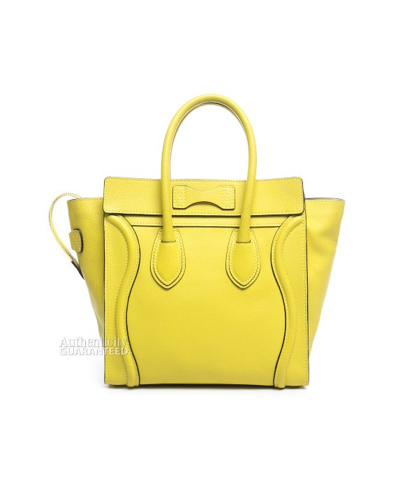 8db96def282d Céline Pre-owned Yellow Drummed Leather Micro Luggage Tote Bag in Yellow -  Lyst