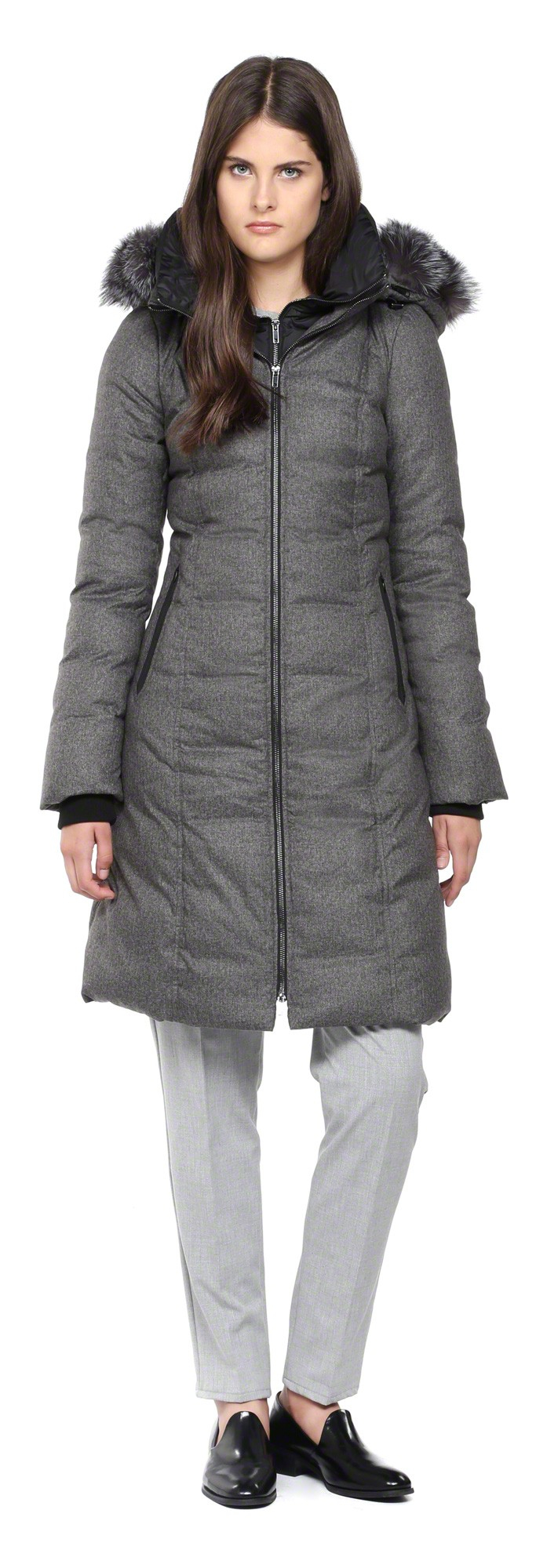 Soia & kyo Liva-Sp Long Grey Down Coat With Fur Hood in Gray | Lyst