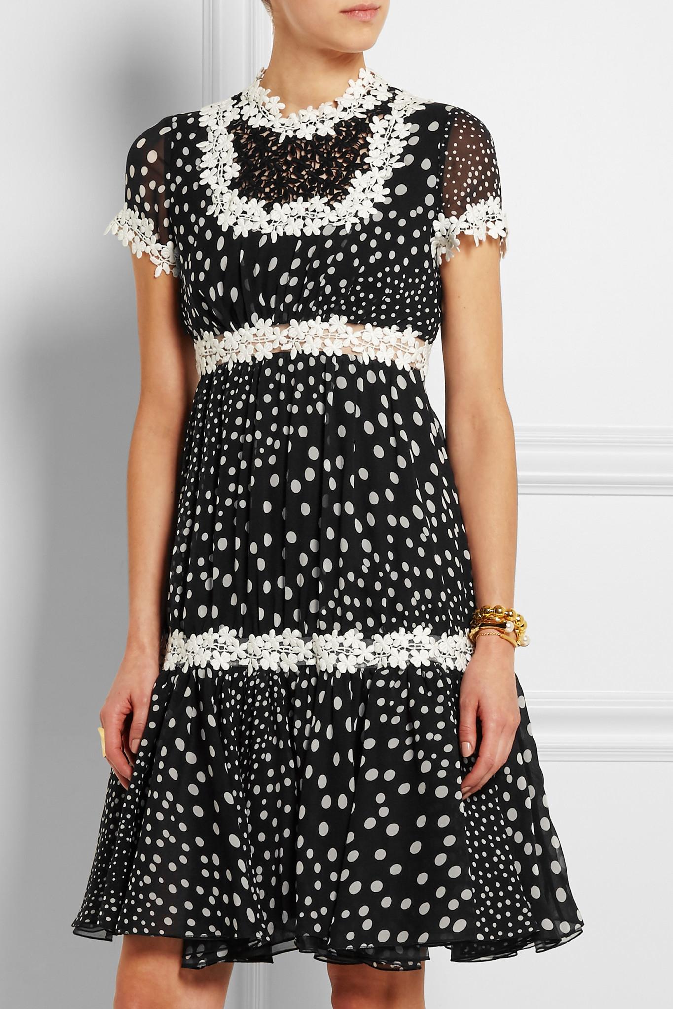 0a4c092e836 Lyst - Giambattista Valli Lace-trimmed Polka-dot Silk-georgette Dress in  Black