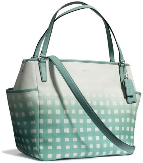 Coach Baby Bag Tote in Gingham Saffiano Leather in Blue (SVWHITEDUCK ...