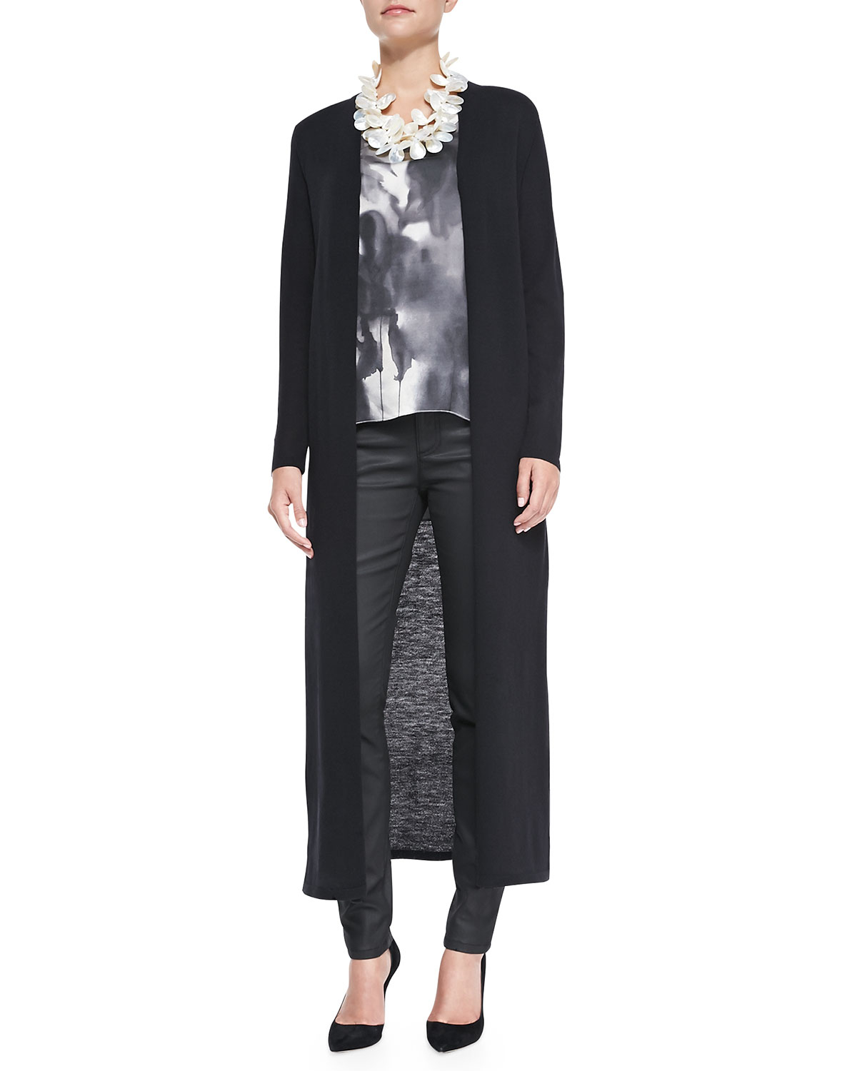 Eileen fisher Washable Wool Crepe Extra Long Cardigan in Blue | Lyst