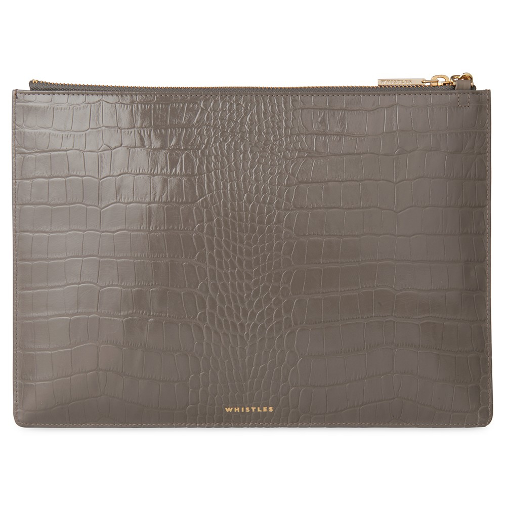 Whistles Rivington Shiny Croc Leather Chain Clutch Bag In Gray Lyst Pouch Wiring Diagram Gallery