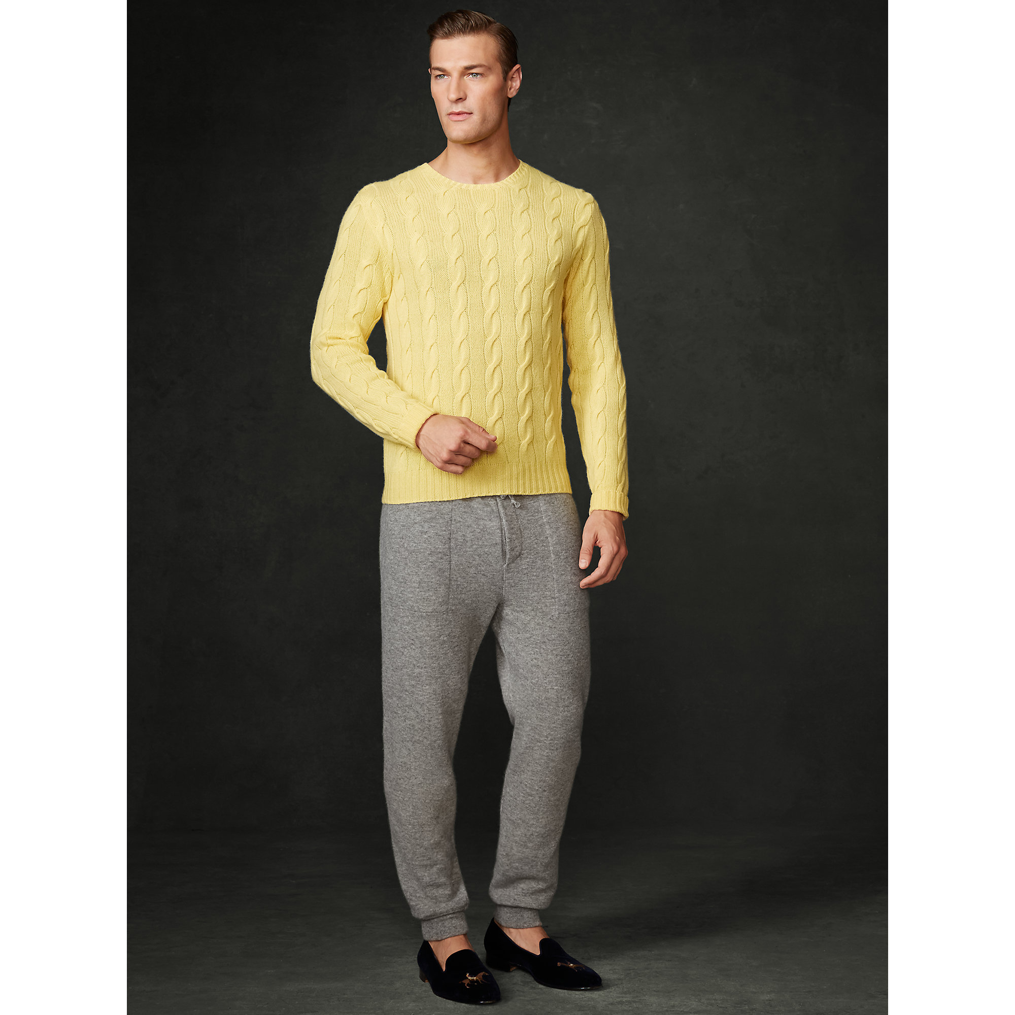 Ralph lauren purple label Cable-Knit Cashmere Sweater in Yellow ...