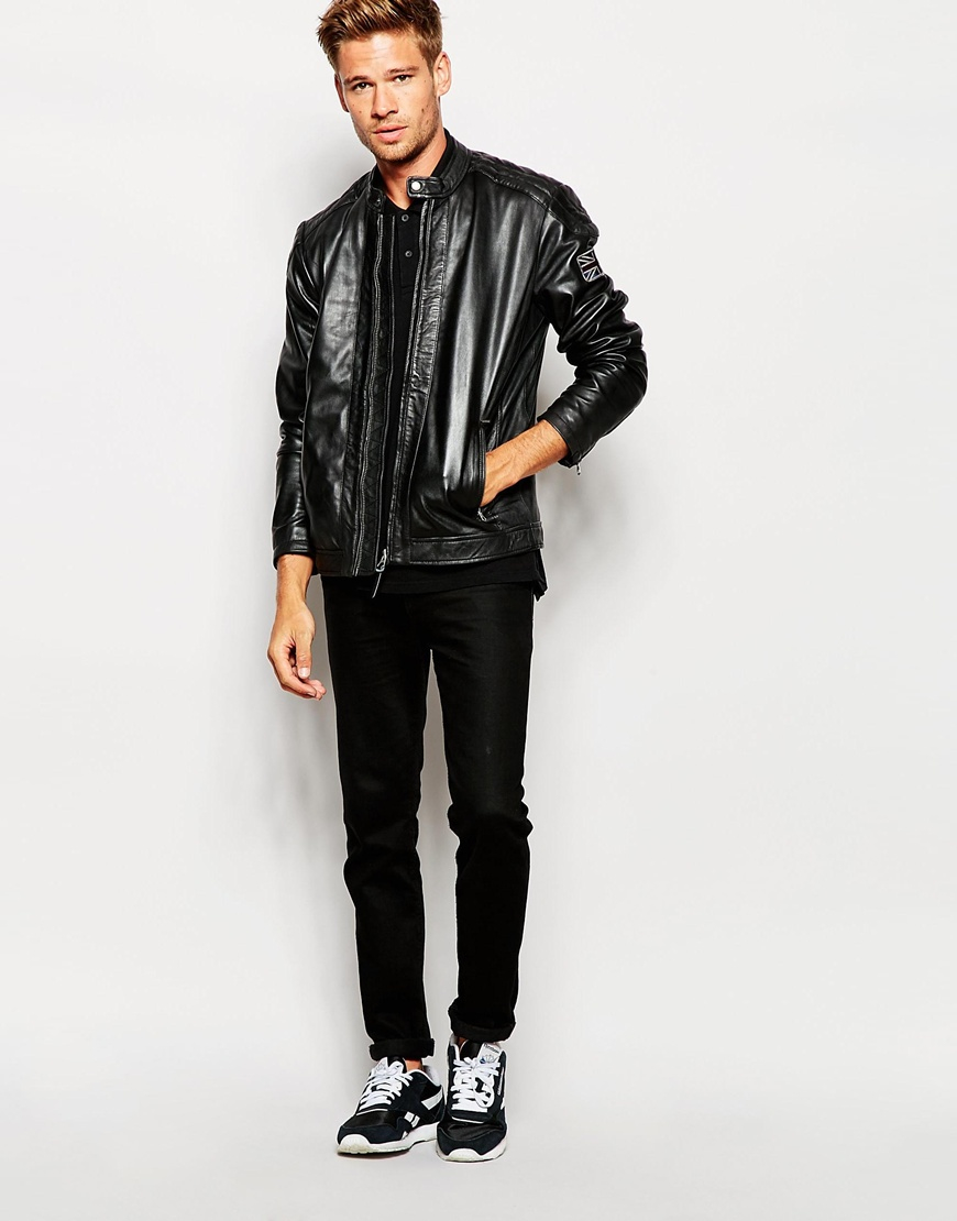 Pepe jeans Leather Jacket Lennon in Black for Men | Lyst