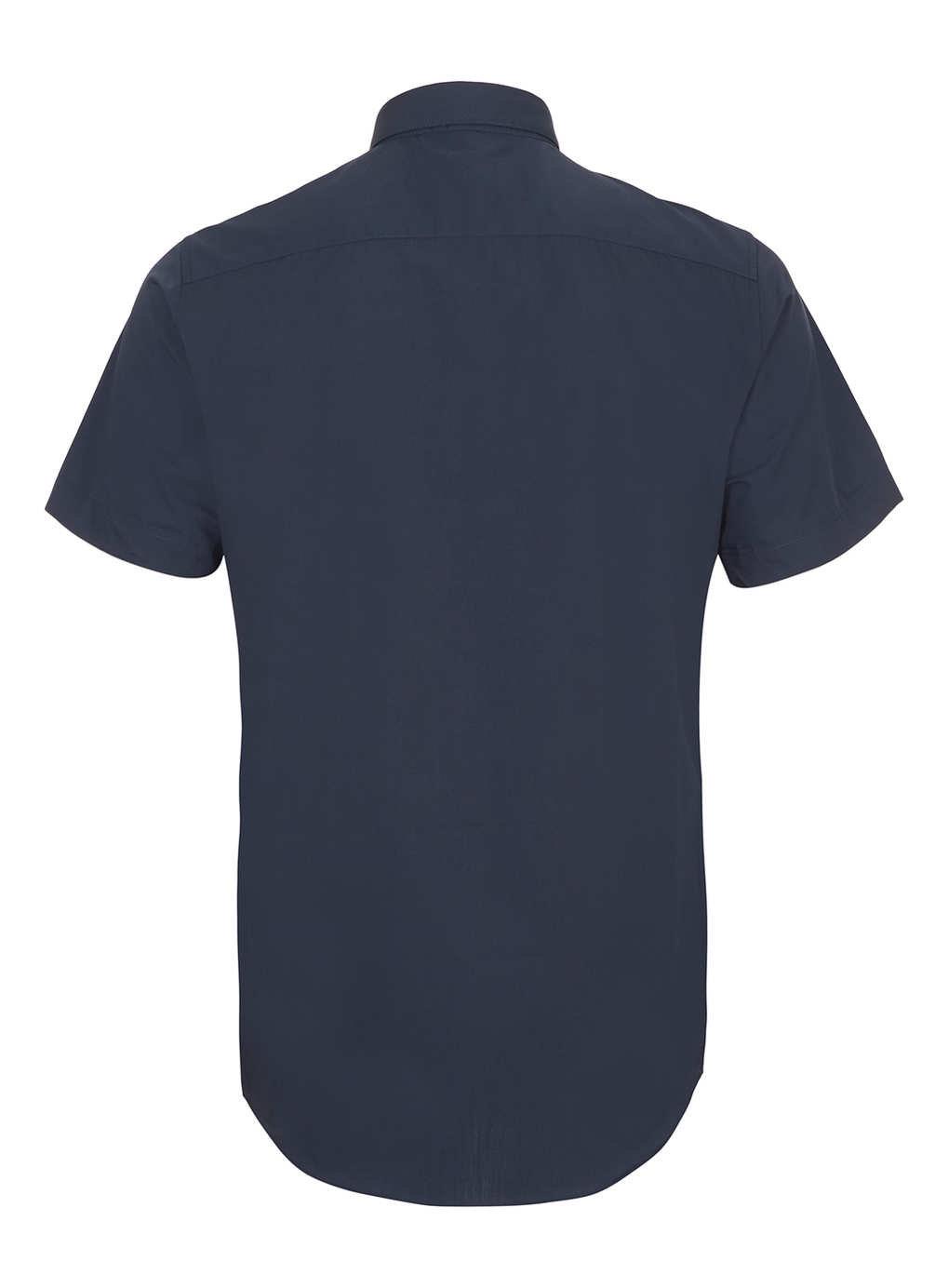 Topman Navy Short Sleeve Slim Button Down Smart Shirt In